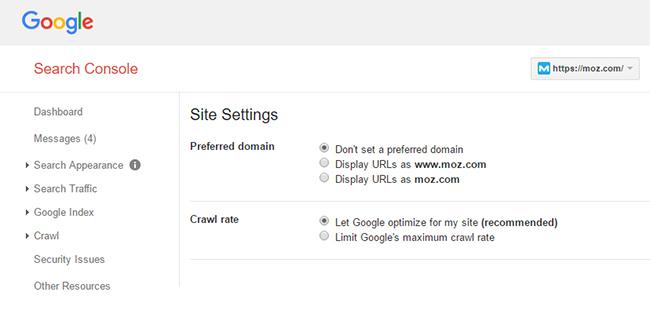 تغییر پارامترها در گوگل وبمستر