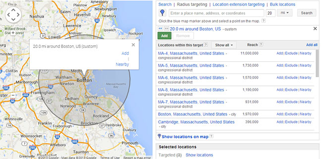 هدفگیری جغرافیایی در تبلیغات گوگل