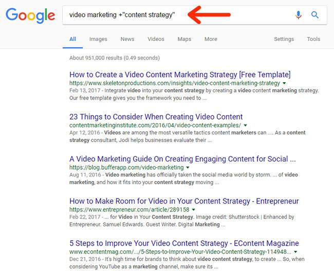 اضافه کردن عبارات به نتایج جستجو (اپراتور +)