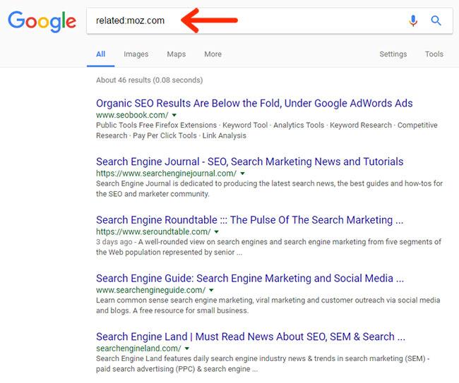 پیدا کردن وبسایتهای مرتبط (اپراتور :related)