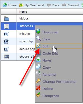 ویرایش فایل htaccess.