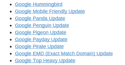 فهرست بروزرسانی الگوریتم گوگل
