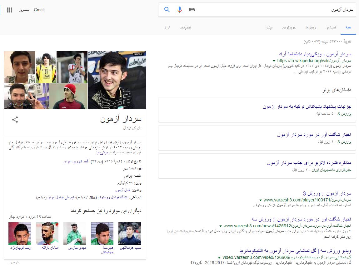 نمونهای از Knowledge Graph در وب فارسی