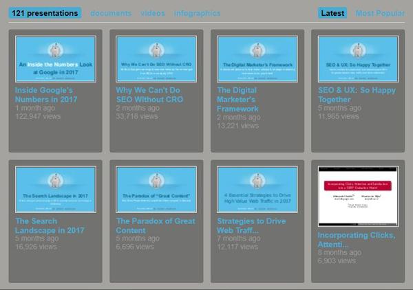 استفاده از فایل ارائههای کنفرانسی و بارگذاری آنها در Slideshare از تاکتیک های کششی جذب بازدیدکننده