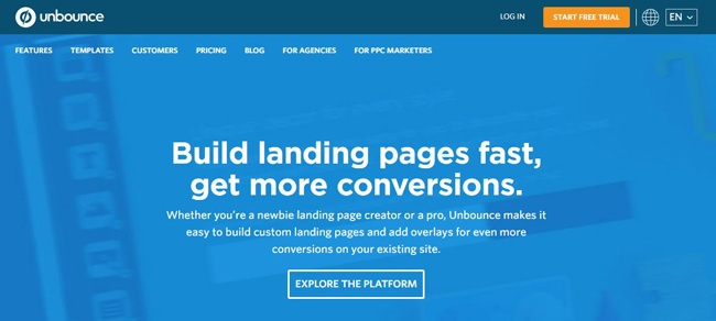 Unbounce ـ landing page ـ صفحه فرود