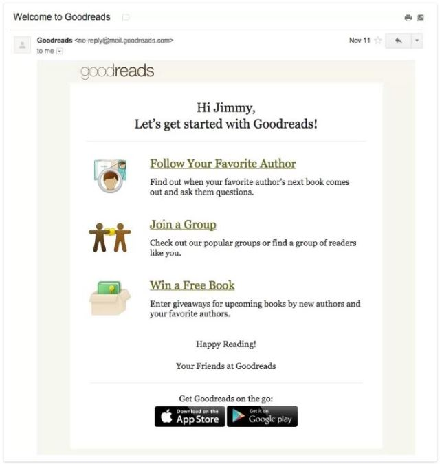 ایمیل خوشامدگویی سایت Goodreads