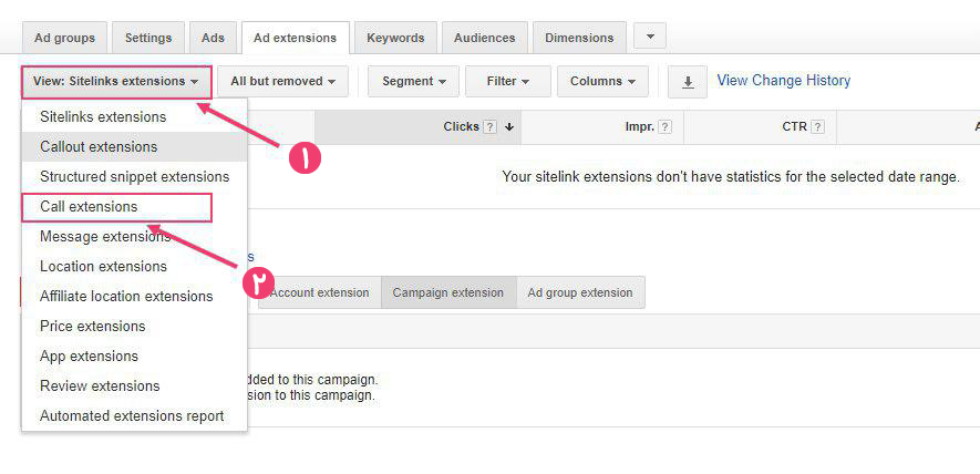 مرحله 2 افزودن شماره تماس به تبلیغات گوگل