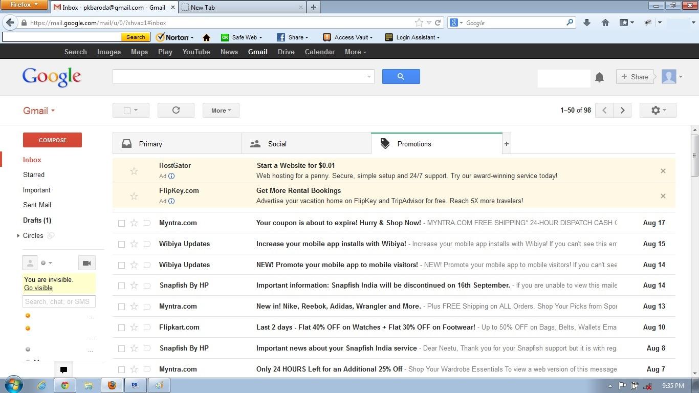 تبلیغ نمایش گوگل در جیمیل
