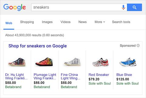 گوگل شاپینگ در شبکه جستجوی گوگل ادز