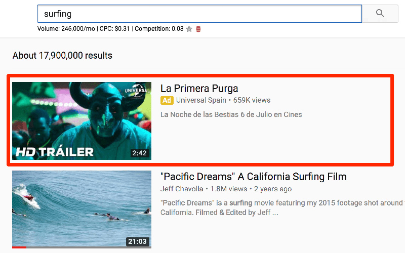 تبلیغ ویدیویی بر اساس جستجو در یوتیوب