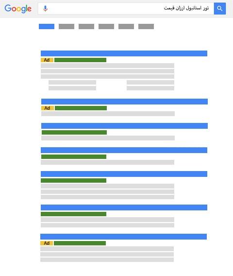 نمایش نتایج تبلیغات گوگل و جستجوی طبیعی