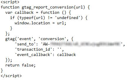 کد کانورشن کلیک در گوگل ادز