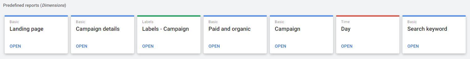 گزارشهای آماده در گوگل ادز